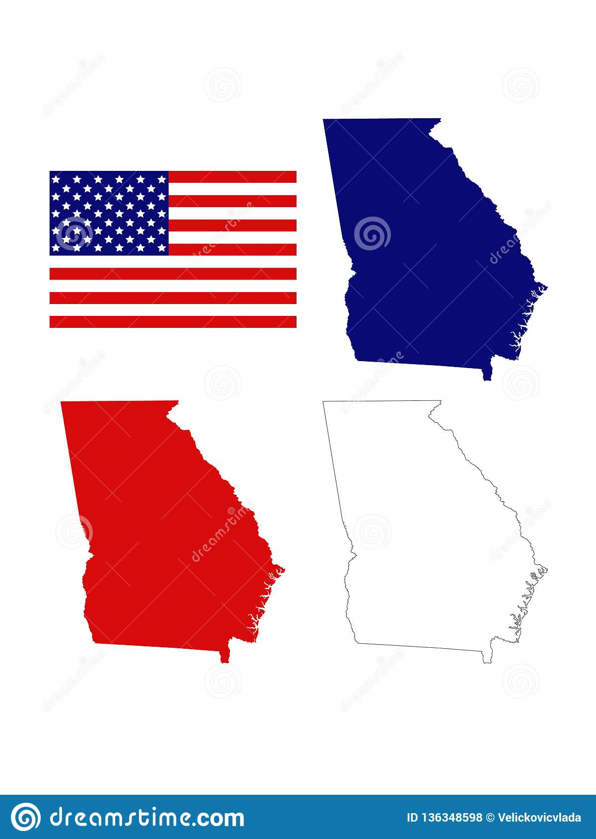 Georgia U. S. State Maps With USA Flag - State In The ...