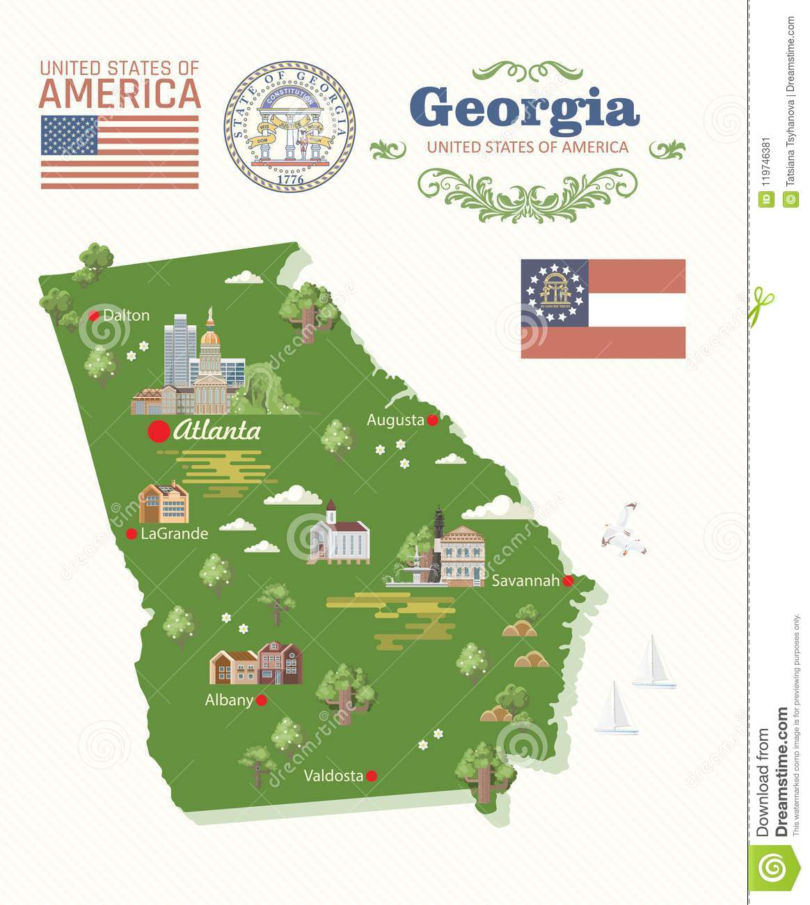 Map Of Georgia In Usa.Georgia Usa Banner With Map Peach State Vector Poster Travel