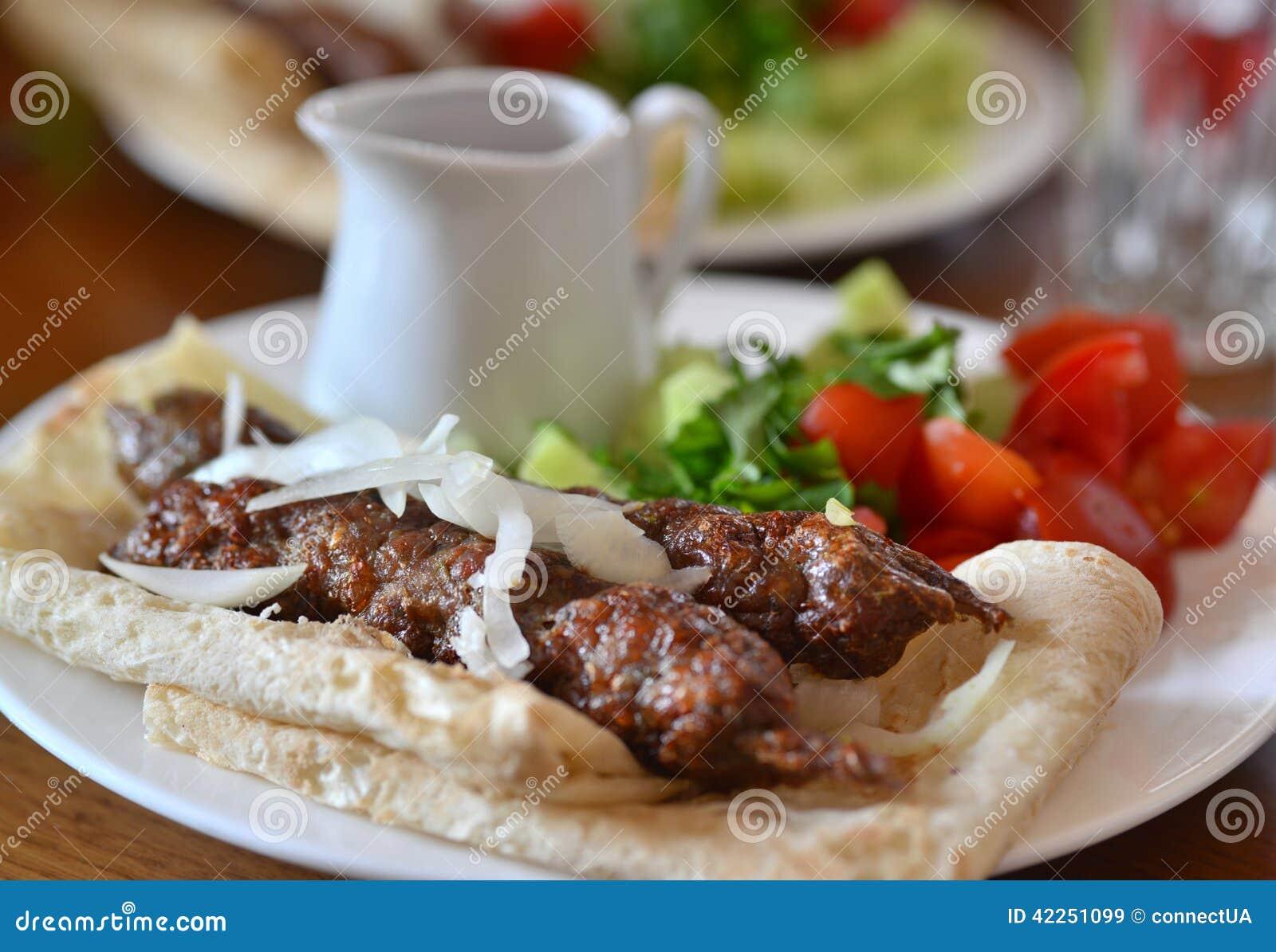 Georgian cuisine - kebab in pita bread