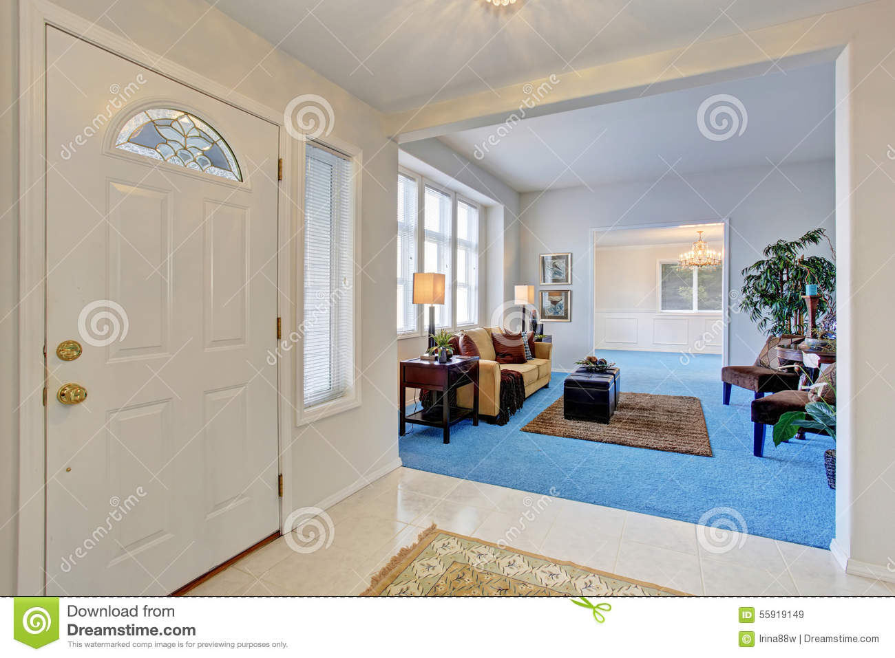 Royalty Free Stock Photo. Download Georgous Living Room With Bright Blue  Carpet. Part 64