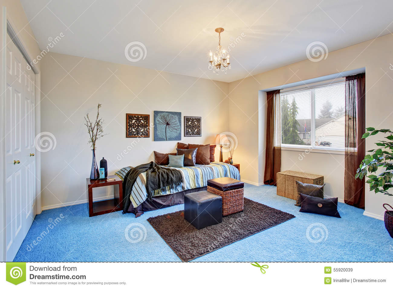 Georgous living room with bright blue carpet stock photo image