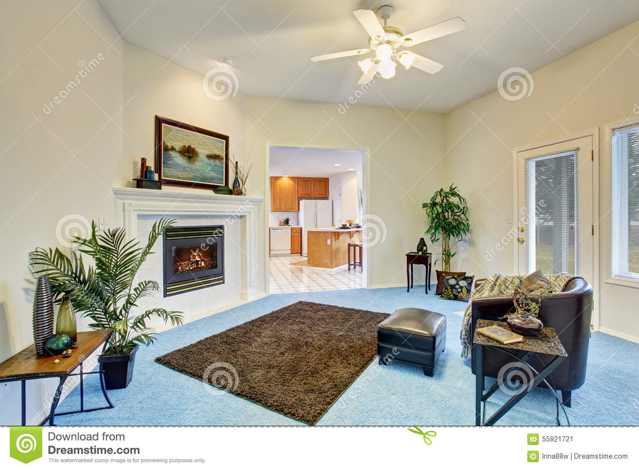 living room carpet decorating ideas georgous living room with bright blue carpet stock image 19973
