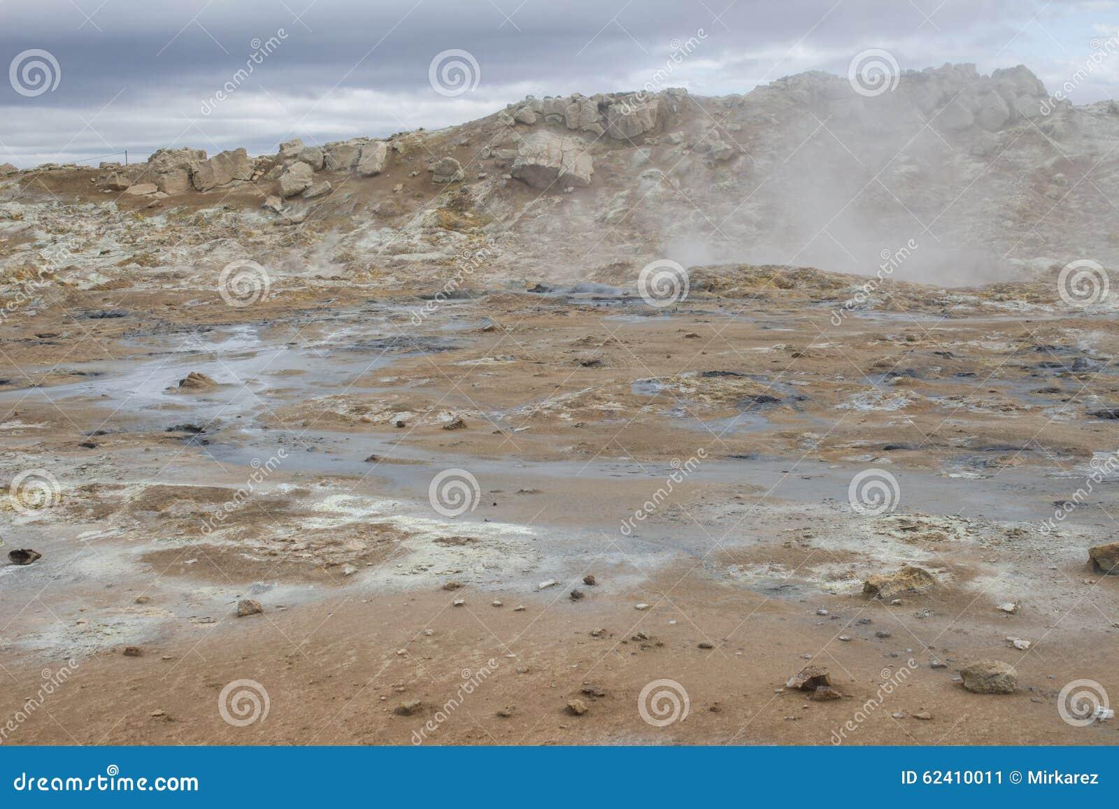 Geotermiczny teren przy Hverir w Iceland
