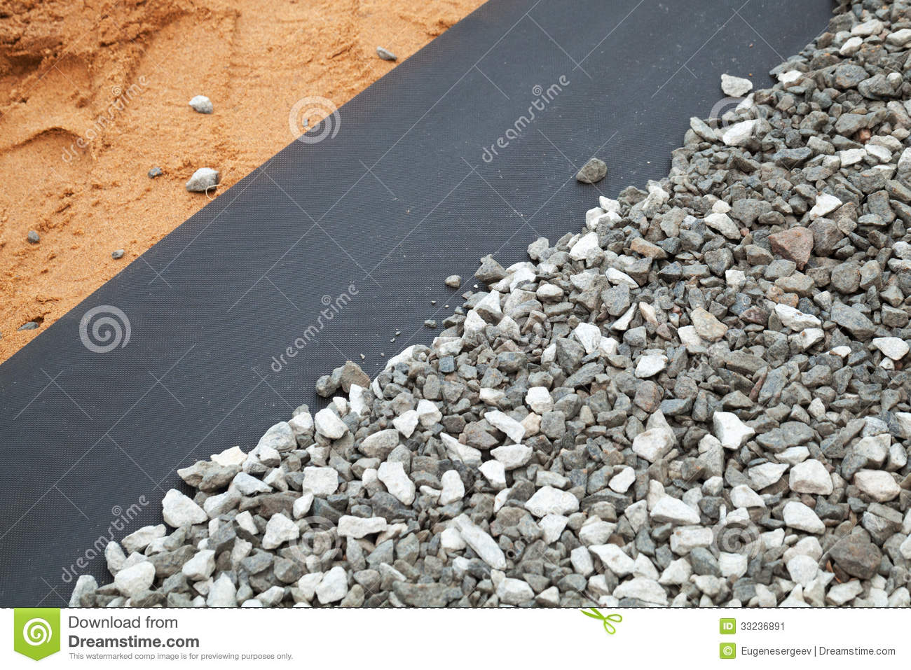 Geotextile Between Gravel And Sandy Ground Stock Image