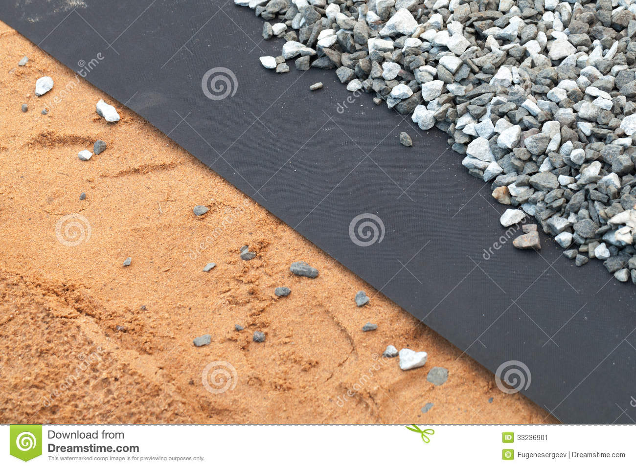 geotextile layer between gray gravel and sand stock image image 33236901. Black Bedroom Furniture Sets. Home Design Ideas