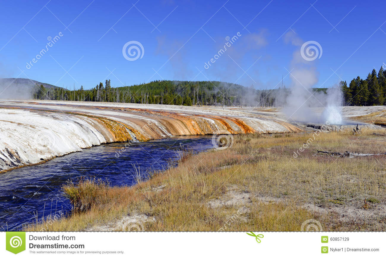 Geothermal Activity At Yellowstone National Park Wyoming Stock