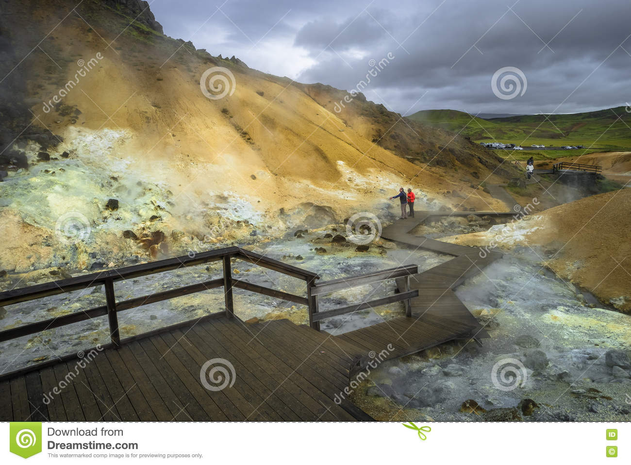 Geothermal area with hot springs on Iceland, summer