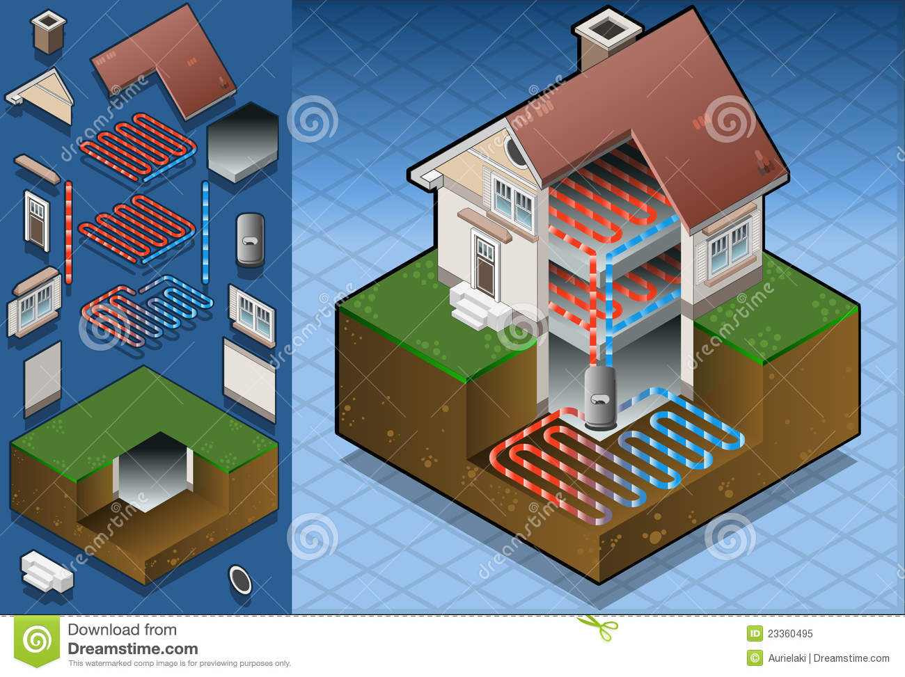 Geothermal Heat Pump/underfloorheating Diagram Royalty Free Stock ...