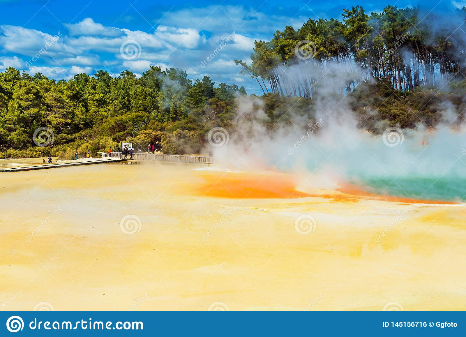 Geothermal pools in Wai-O-Tapu park, Rotorua, New Zealand. Copy space for text