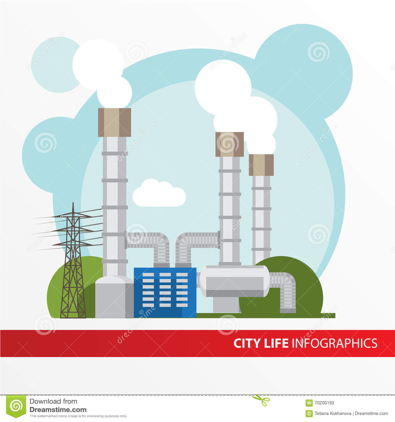 Thermal Power Plant Schematic Diagram Not Lossing Wiring Circuit Geothermal Station Colorful Illustration In A Flat Steam