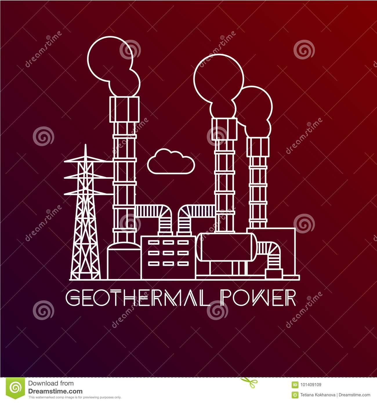 Geothermal Power Diagram Electrical Wiring Diagrams Plant Block Station Stock Vector Illustration Of Energy Turbine Download