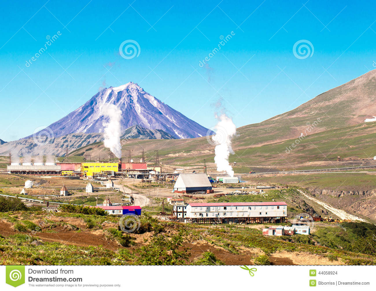 Geothermal Power Station Near A Volcano Stock Photo