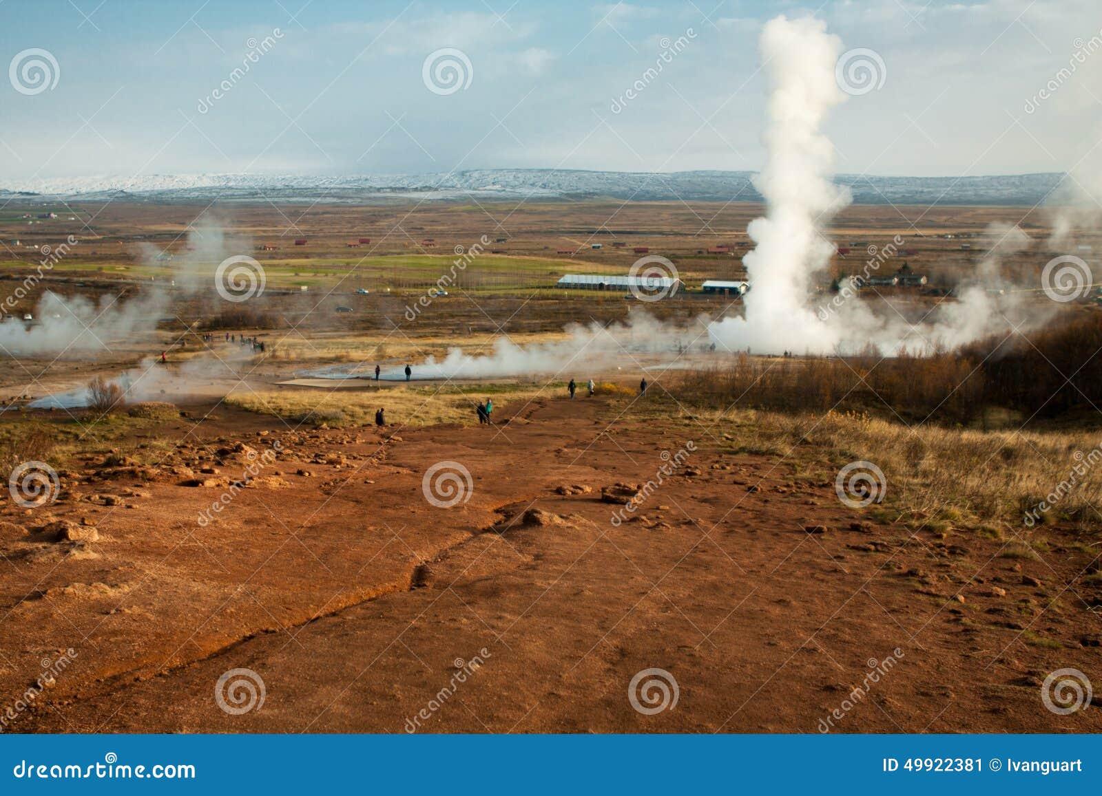 Geothermisch gebied strokkur geysir in IJsland