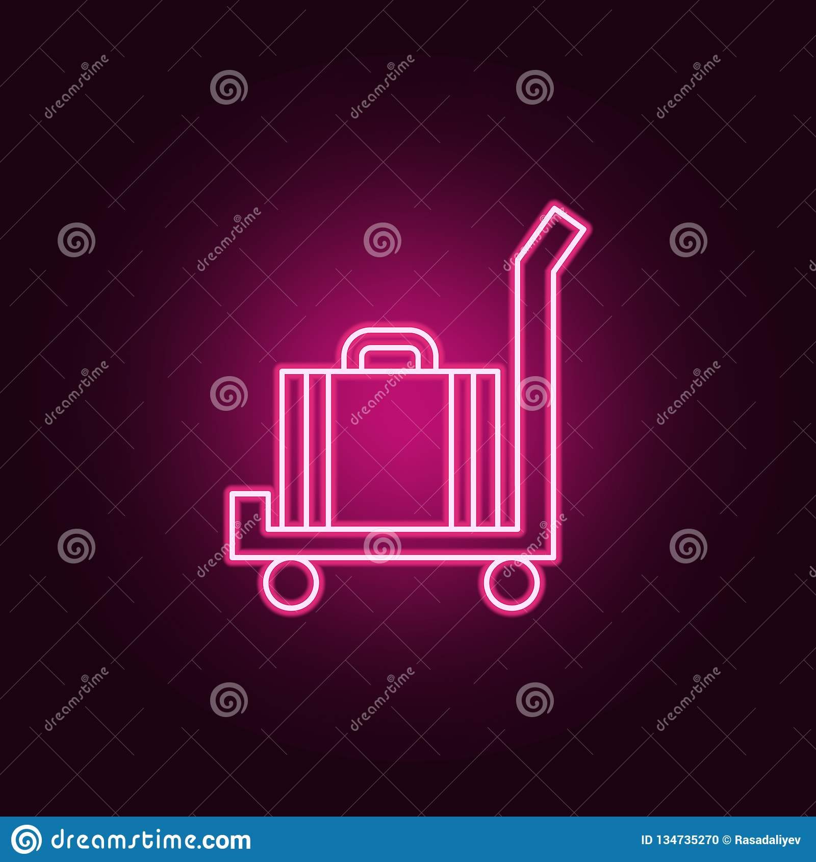 Gepäck auf einer Warenkorbikone Elemente des Hotels in den Neonartikonen Einfache Ikone für Website, Webdesign, mobiler App, Info