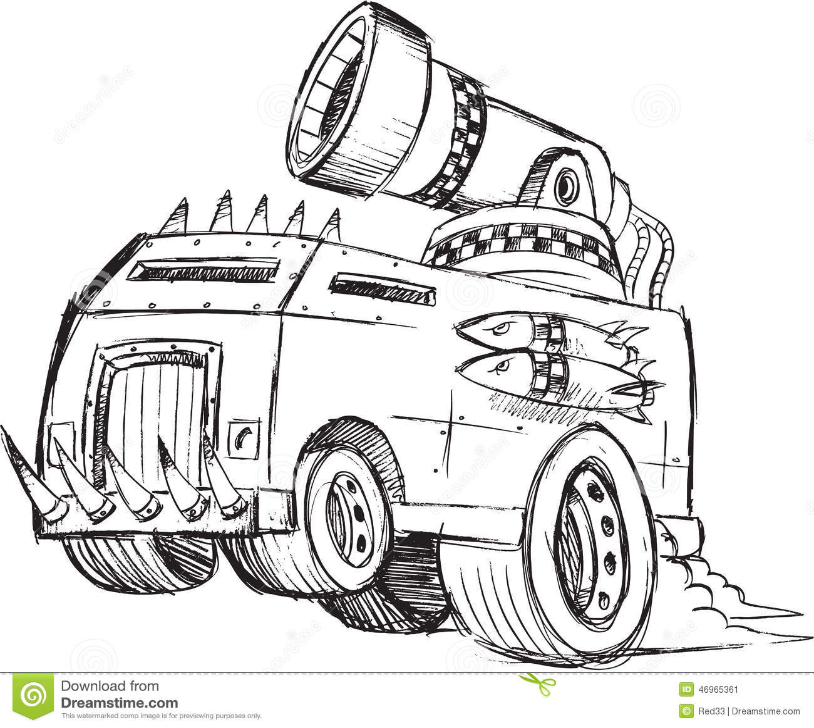 Gepanzerte LKW-Fahrzeug-Skizze Stock Abbildung - Illustration von ...