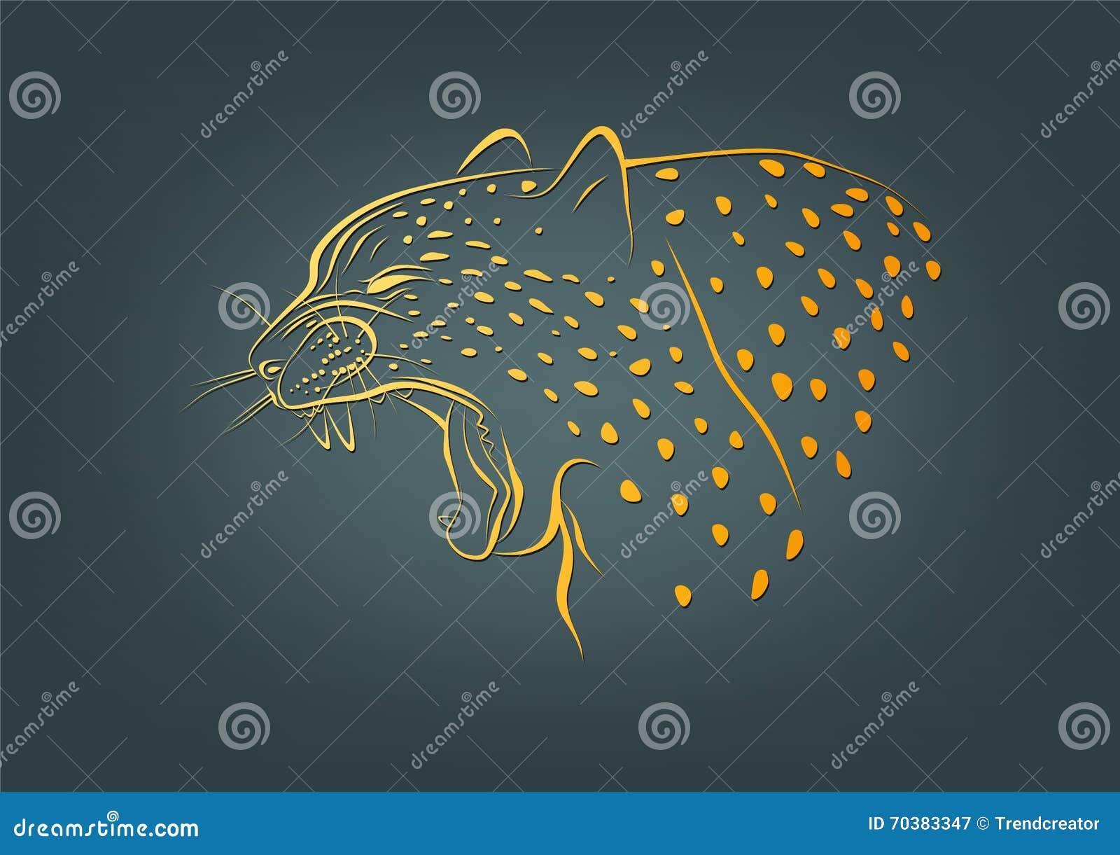 Geparda logo, lamparta symbol i żbika pojęcia projekt,