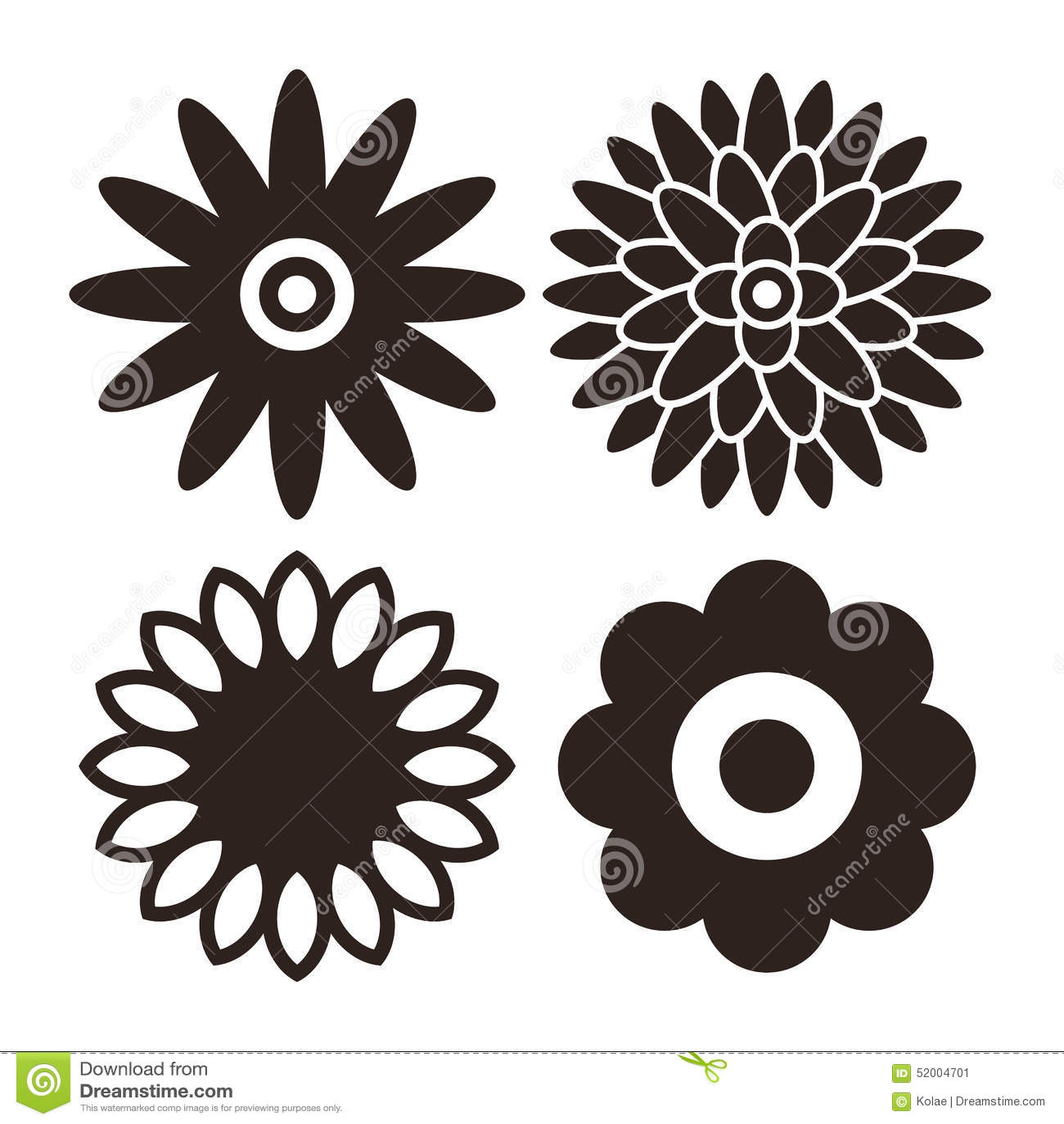 Geplaatst bloempictogram - gerbera, chrysant, zonnebloem en madeliefje
