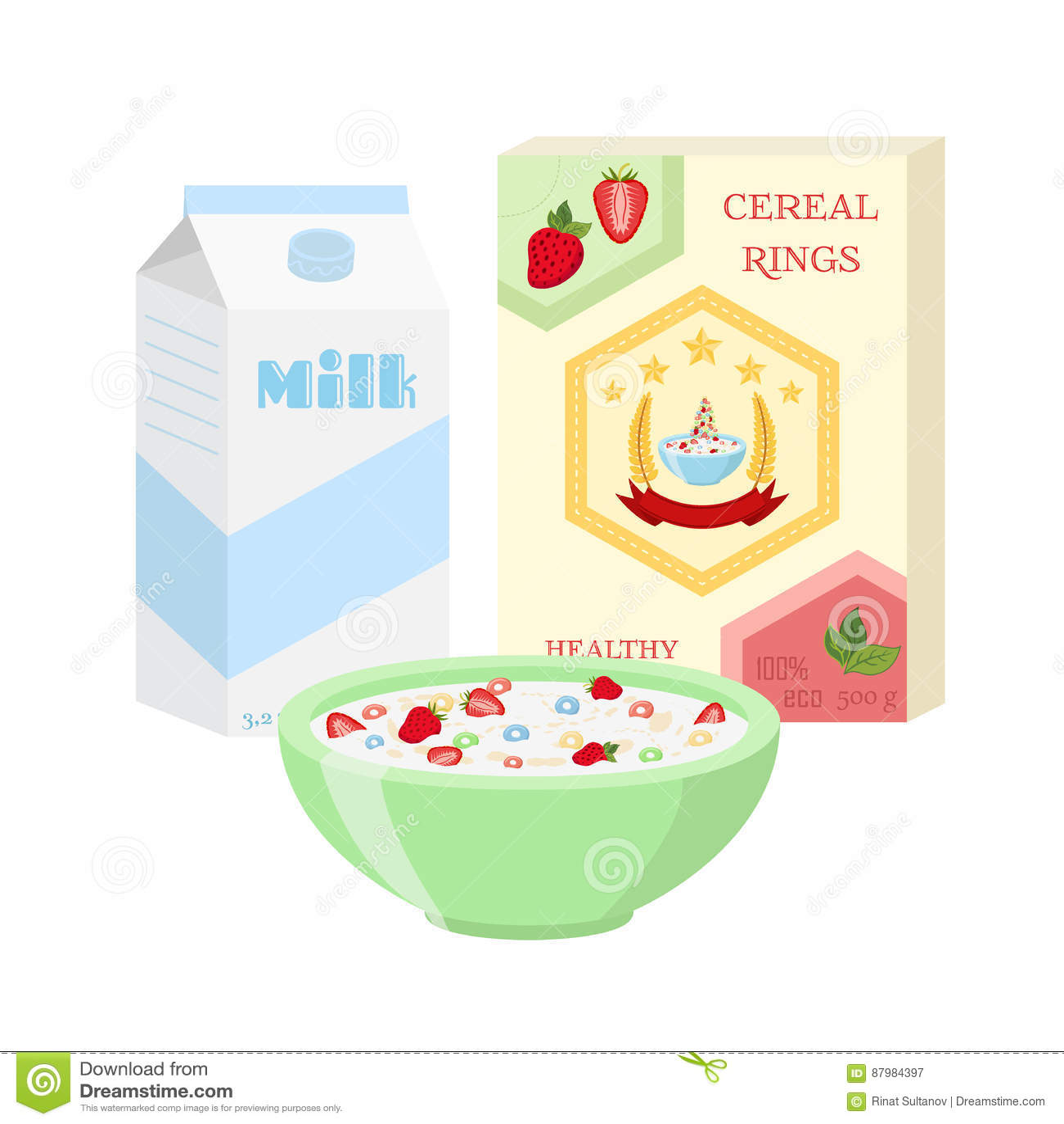 Geplaatst ontbijt - melk, graangewas, bessen Gezond voedsel in vlakke stijl