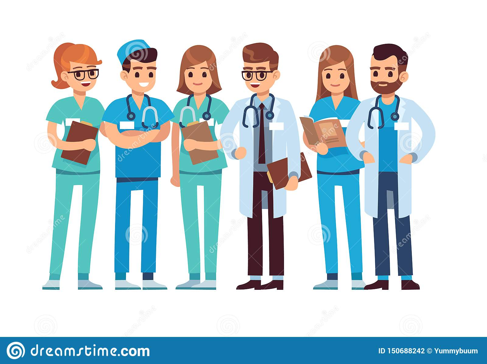 Geplaatste artsen De medische personeelsteam van de de therapeutchirurg van de artsenverpleegster professionele het ziekenhuisarb