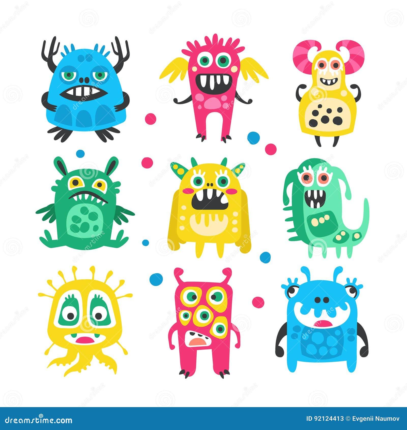Geplaatste beeldverhaal leuke grappige monsters, vreemdelingen en bacterias Kleurrijke inzameling van vriendschappelijke monsters