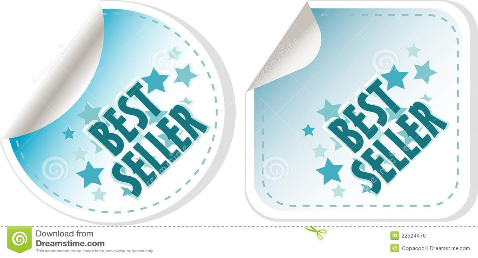 Geplaatste bestseller blauwe stickers. vector etiket