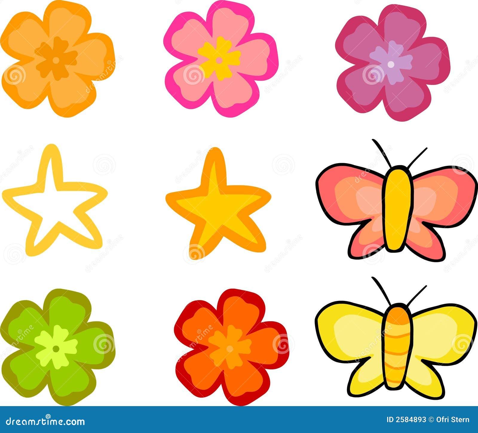 Geplaatste bloemen en Vlinders