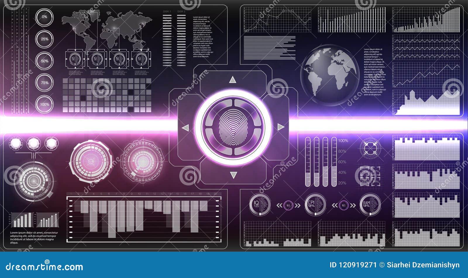 Geplaatste controlescanners Vingeraftasten in Futuristische Stijl Biometrische identiteitskaart met Futuristisch HUD Interface de