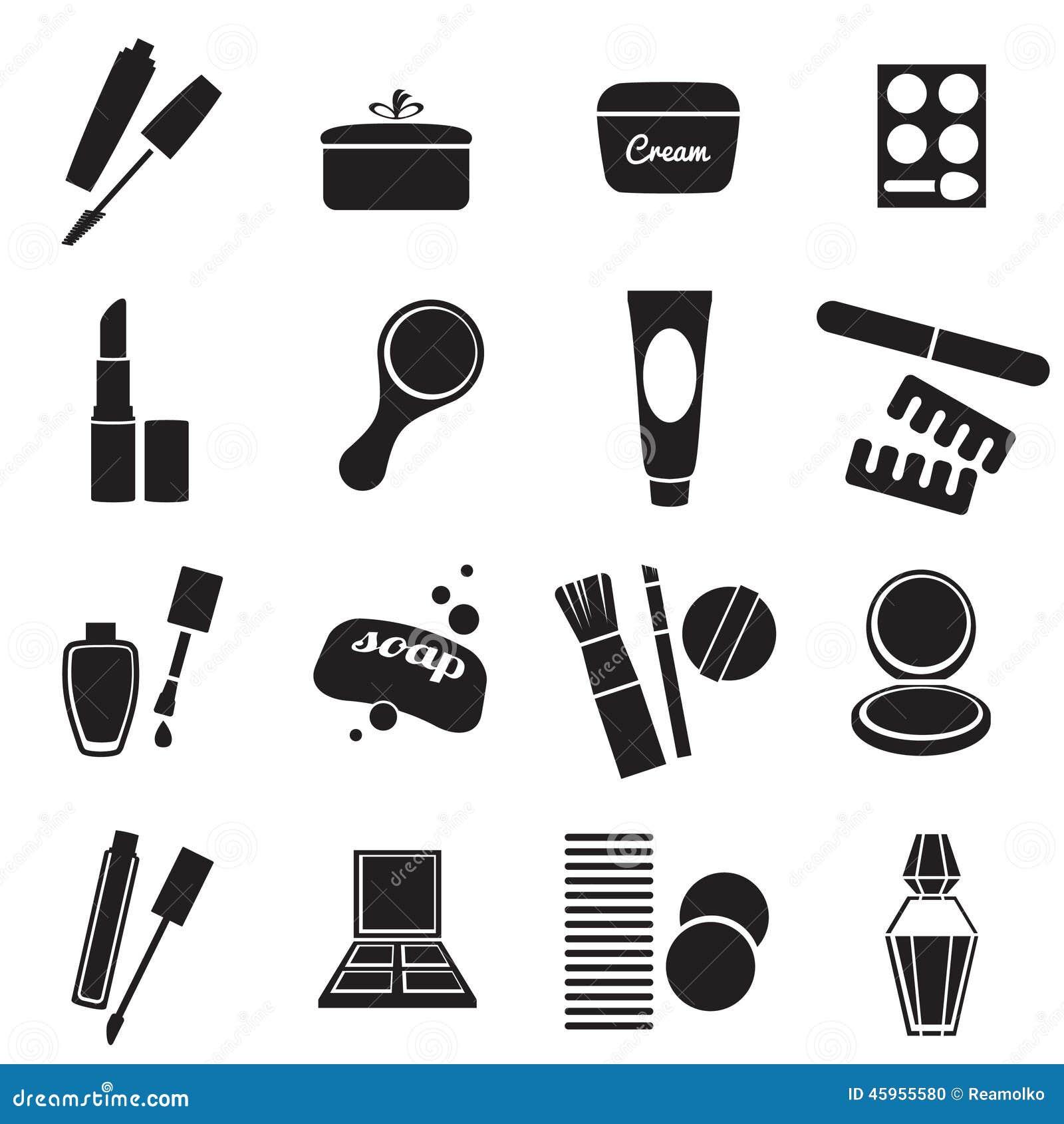 Geplaatste cosmetischee producten eenvoudige pictogrammen