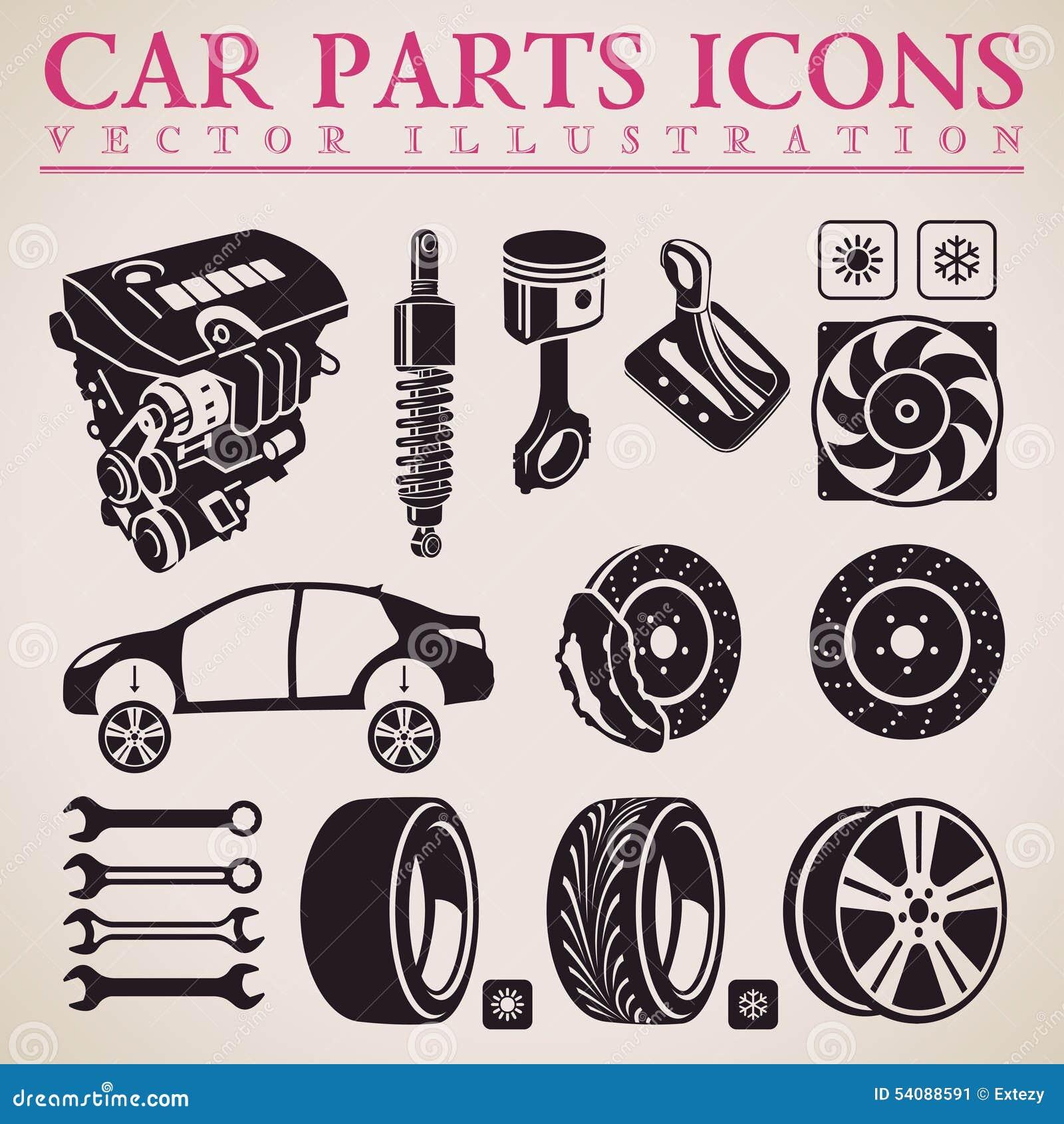 Geplaatste de delen van de auto Vector de dienstpictogrammen van de reparatieauto