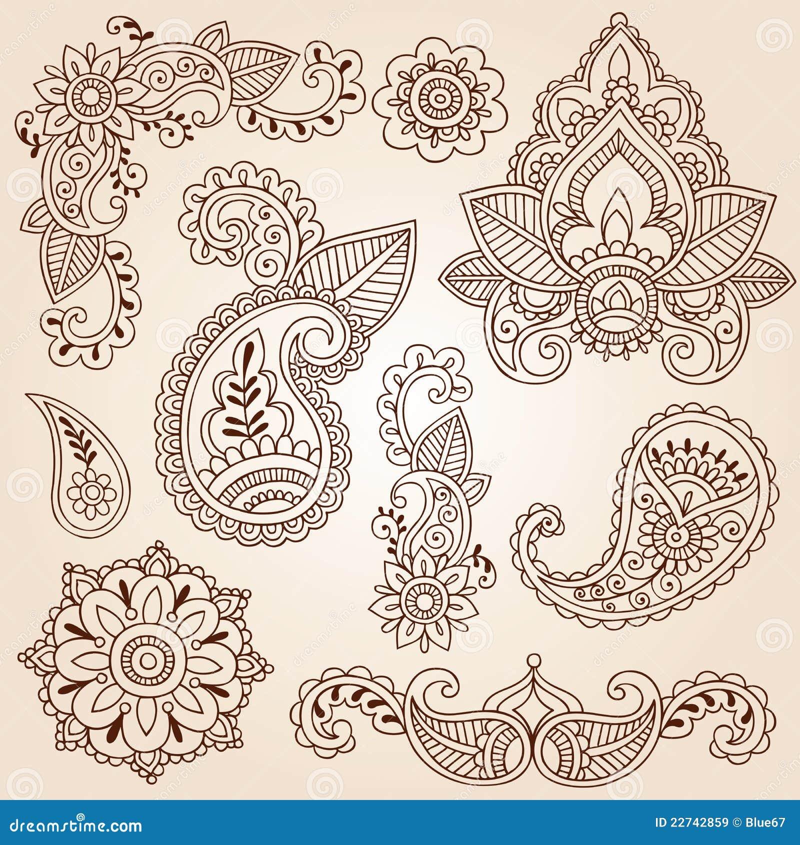 Geplaatste de Elementen van het Ontwerp van de Tatoegering van Mehndi van de Krabbels van de henna
