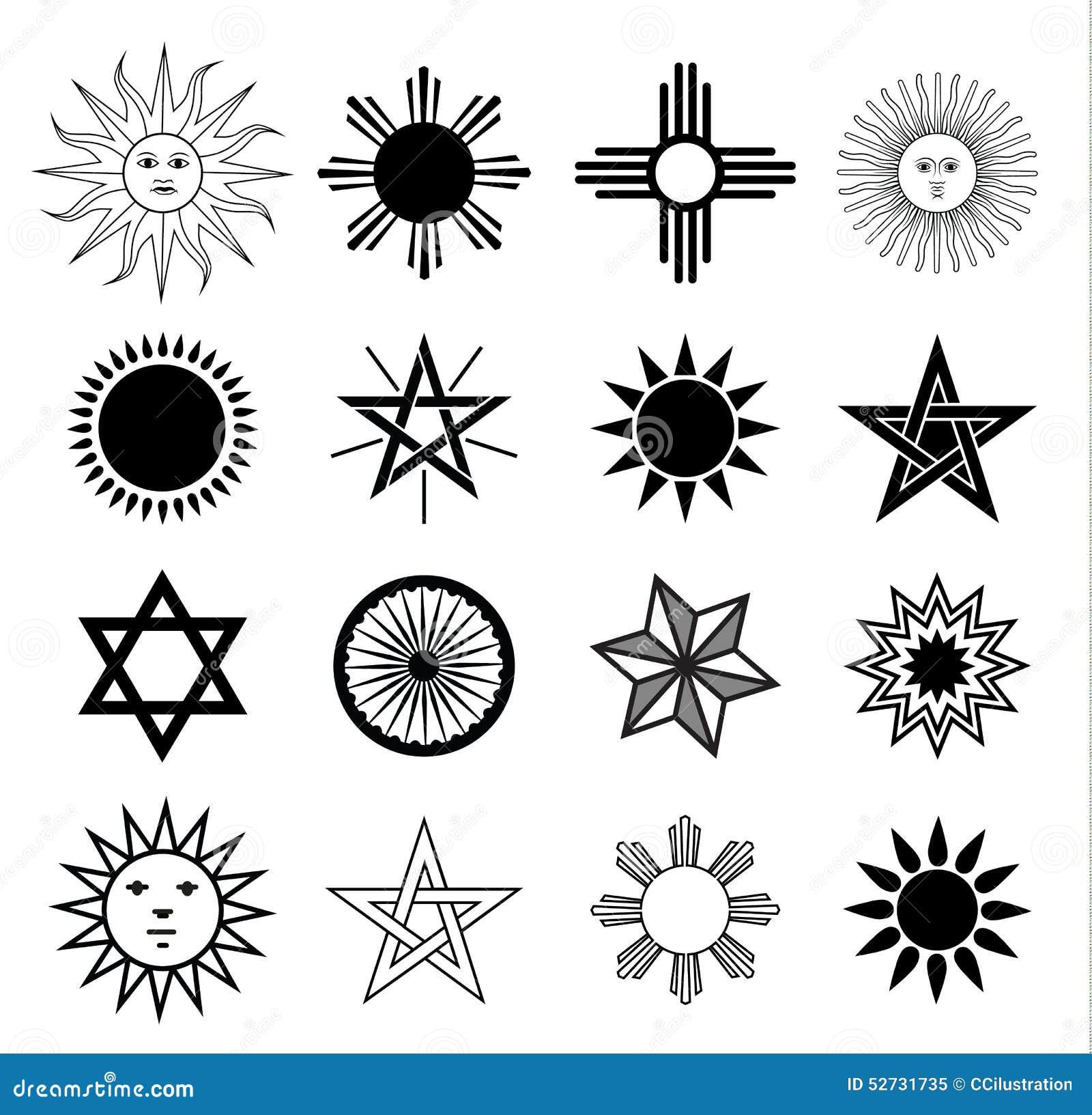 Geplaatste de elementen van het zonwapenschild, vectorillustratie