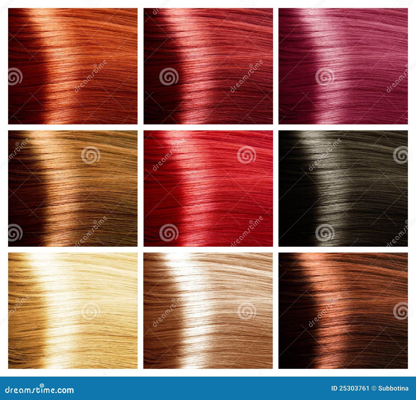 Geplaatste De Kleuren Van Het Haar. Tinten Stock