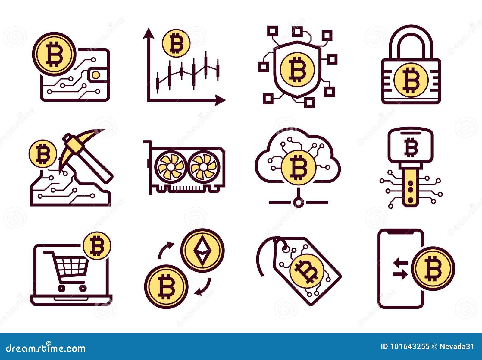 Geplaatste de pictogrammen van de Bitcoinmijnbouw