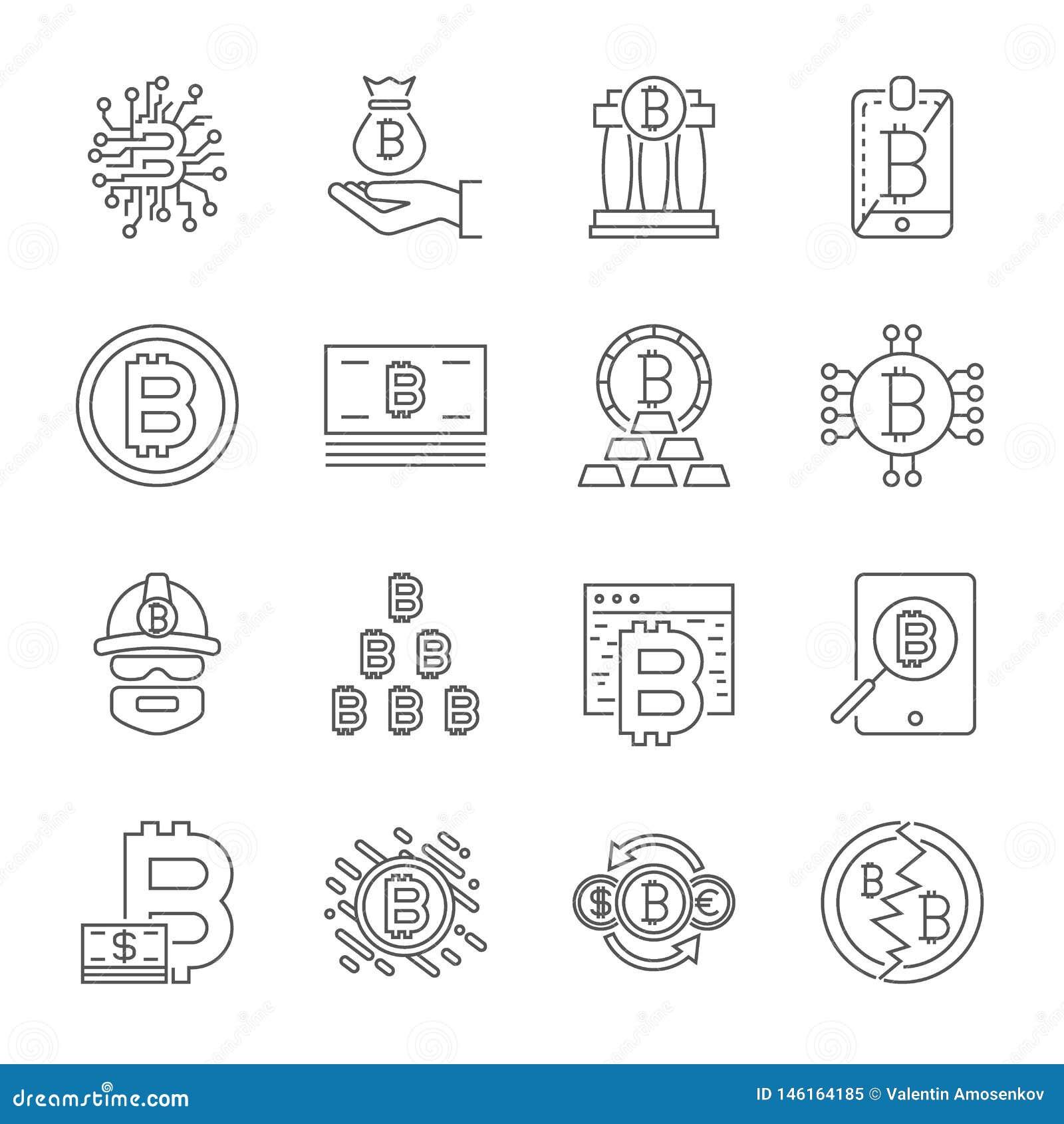 Geplaatste de Pictogrammen van de Cryptocurrencylijn Vectorinzameling van Dunne de Financi?nsymbolen van Overzichtsbitcoin Editab