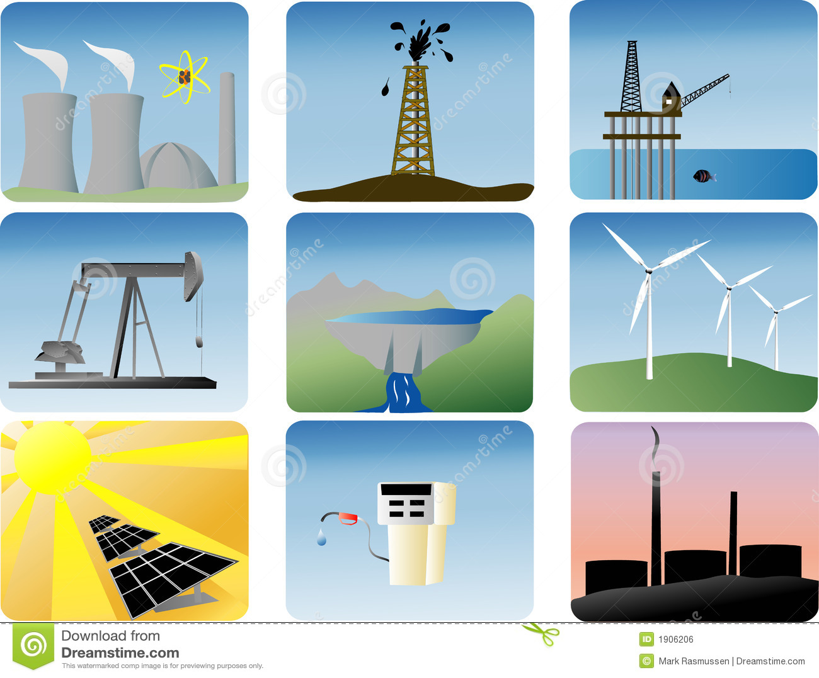 Geplaatste de pictogrammen van de energie