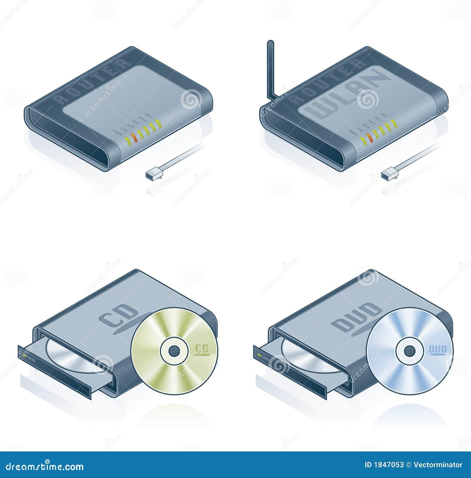 Geplaatste de Pictogrammen van de Hardware van de computer - de Elementen van het Ontwerp 55b