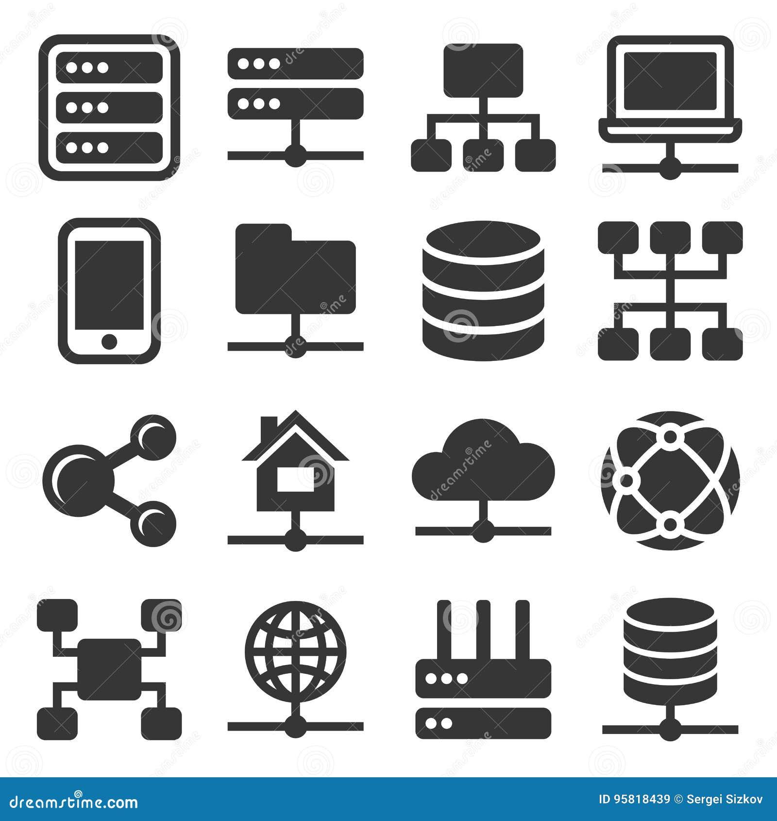 Geplaatste de pictogrammen van het netwerk