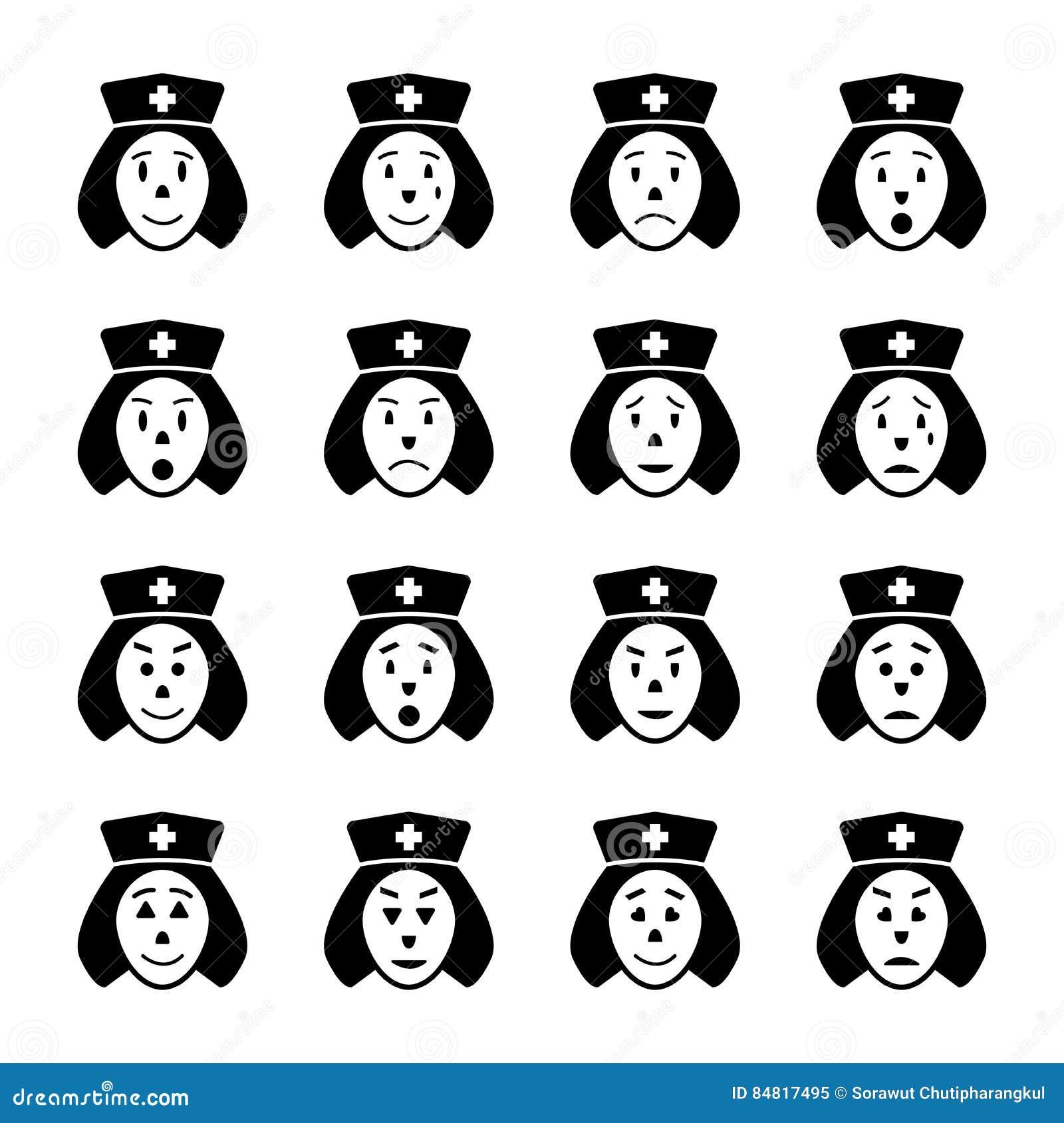Geplaatste de pictogrammen van het verpleegstersgezicht emoticon