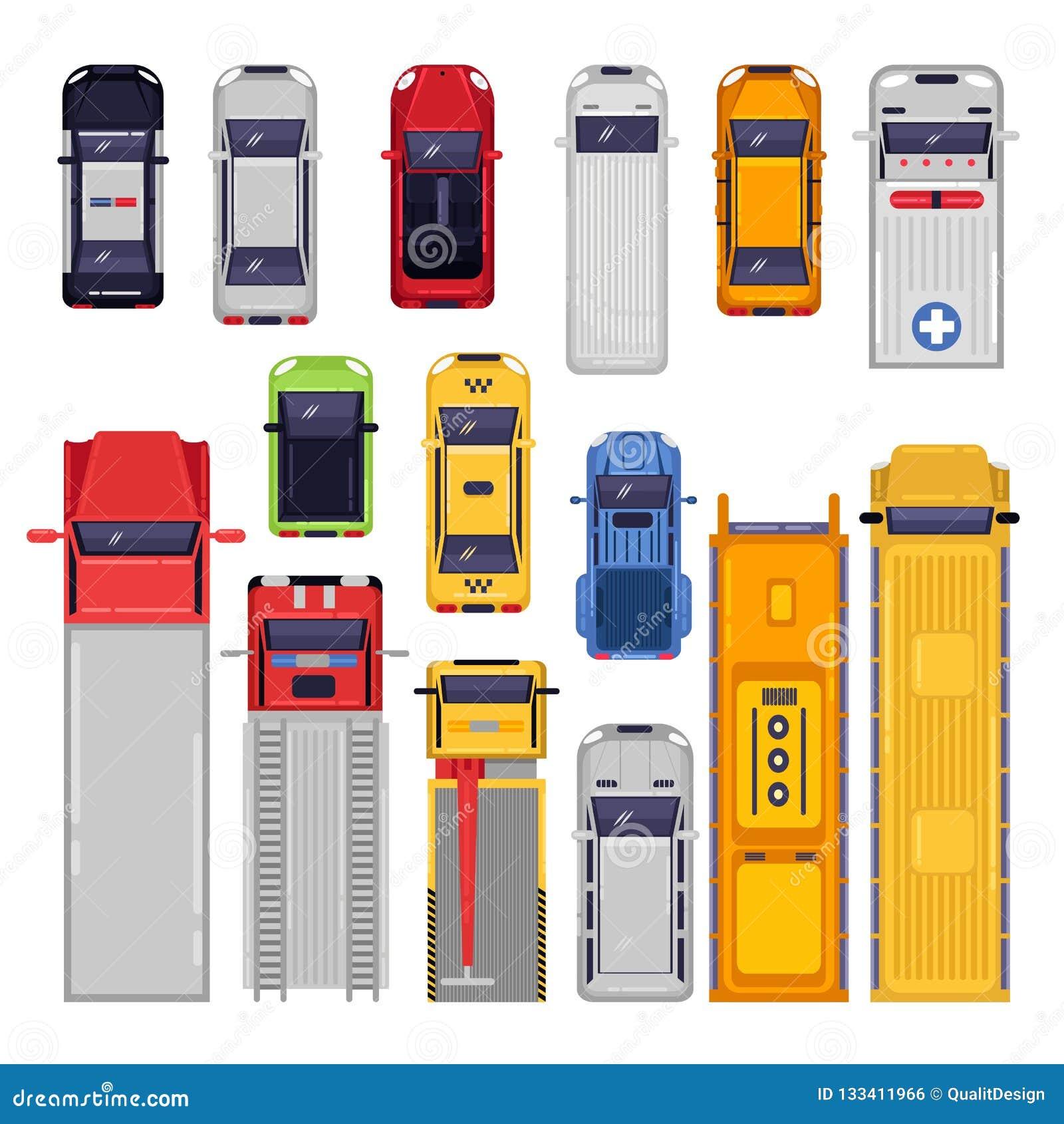 Geplaatste de pictogrammen van het Vervoer van de stad Hoogste Meningsillustratie Vector vlak die voertuig op witte achtergrond w
