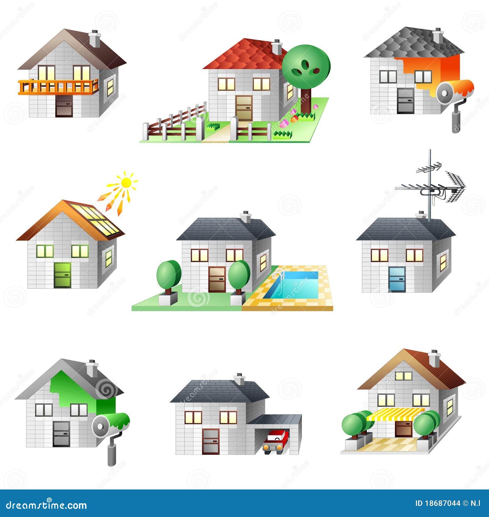 Geplaatste de pictogrammen van huizen stock illustratie afbeelding 18687044 for Afbeelding van moderne huizen