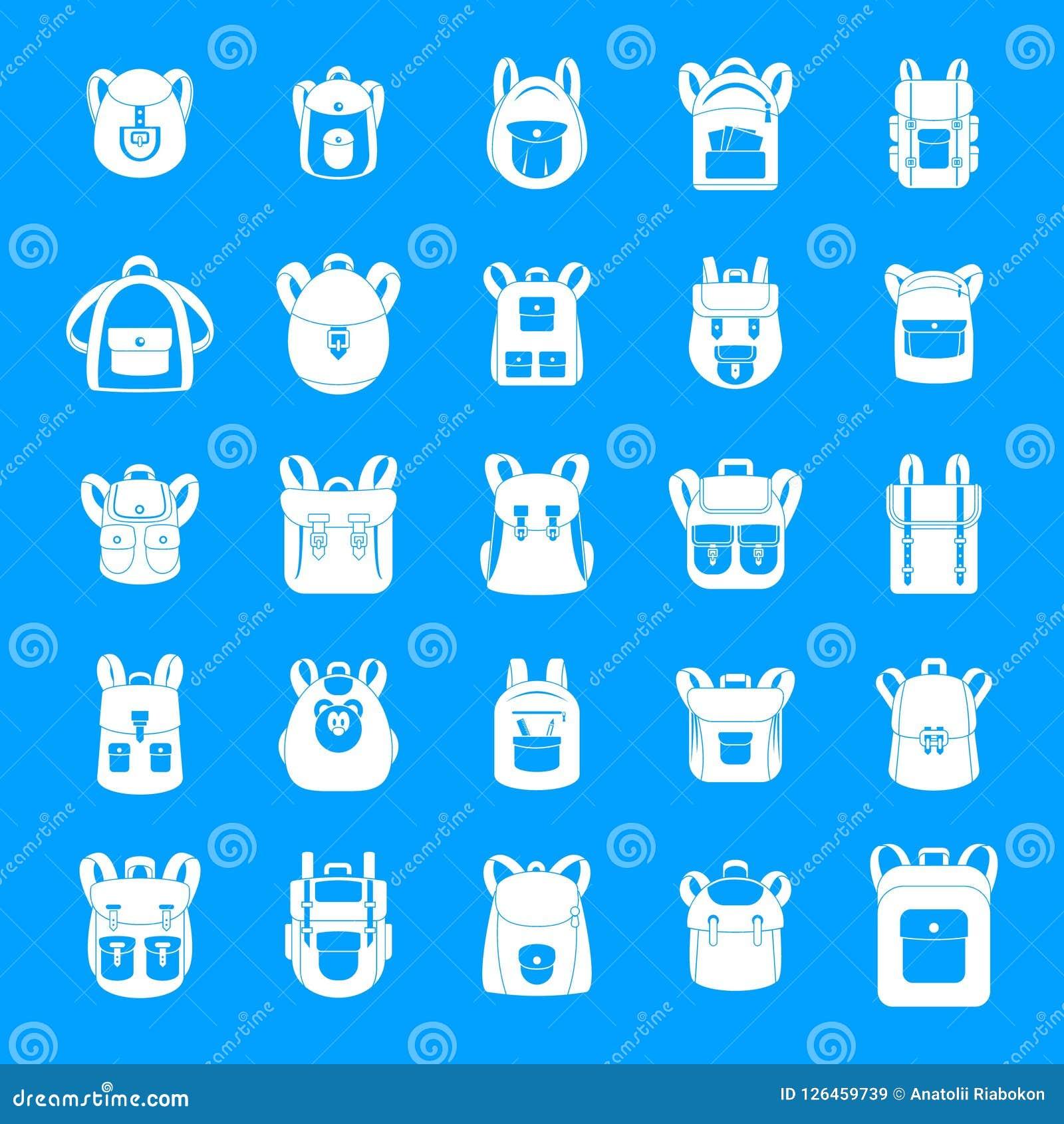 Geplaatste de pictogrammen van de de reissport van de rugzakschool, eenvoudige stijl