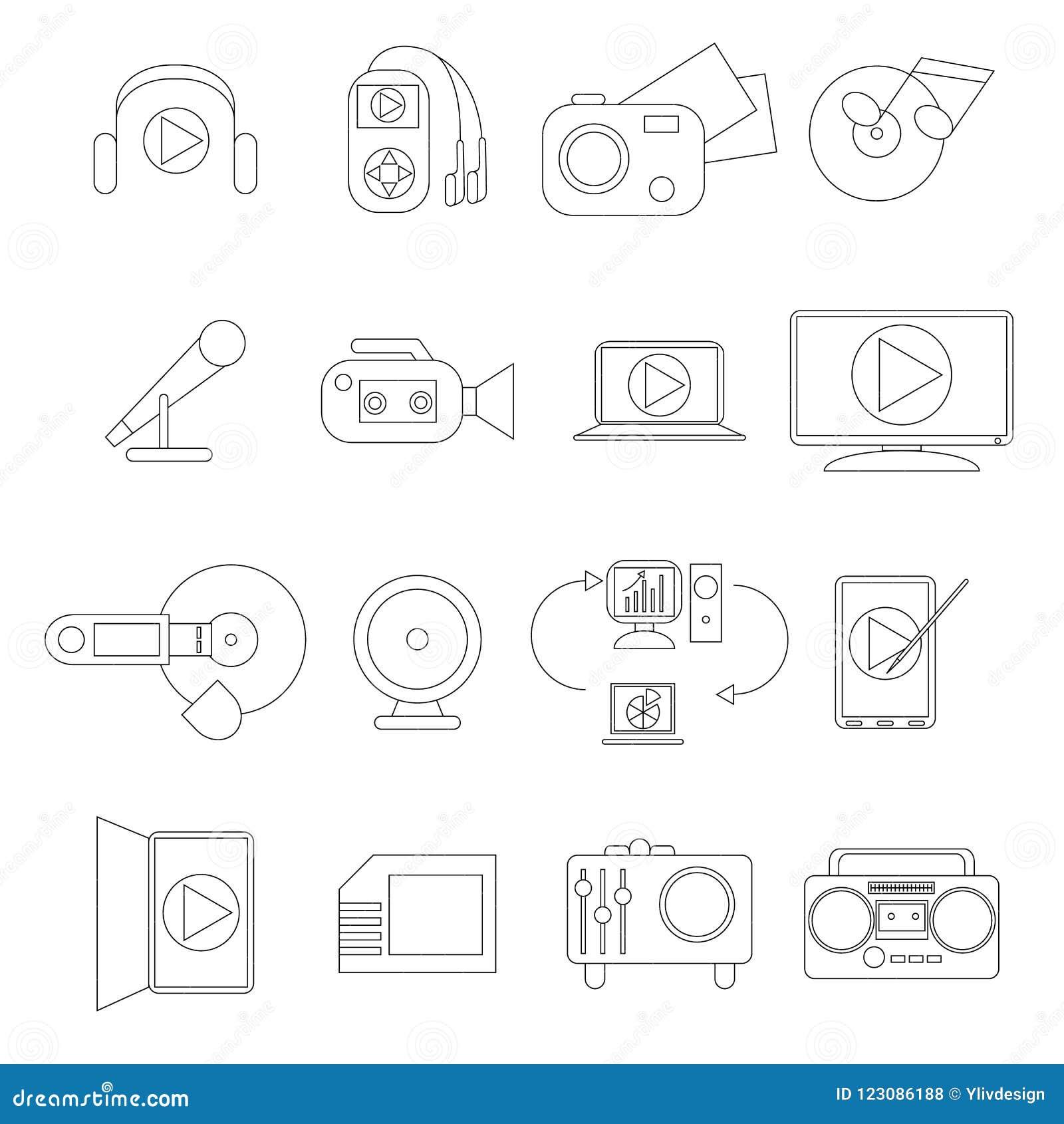 Geplaatste de pictogrammen van verschillende media, dunne lijnstijl
