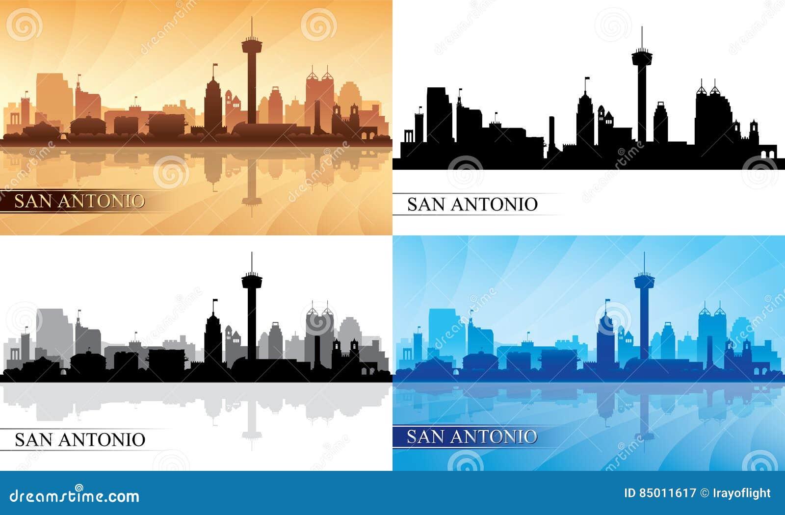 Geplaatste de silhouetten van de de stadshorizon van San Antonio