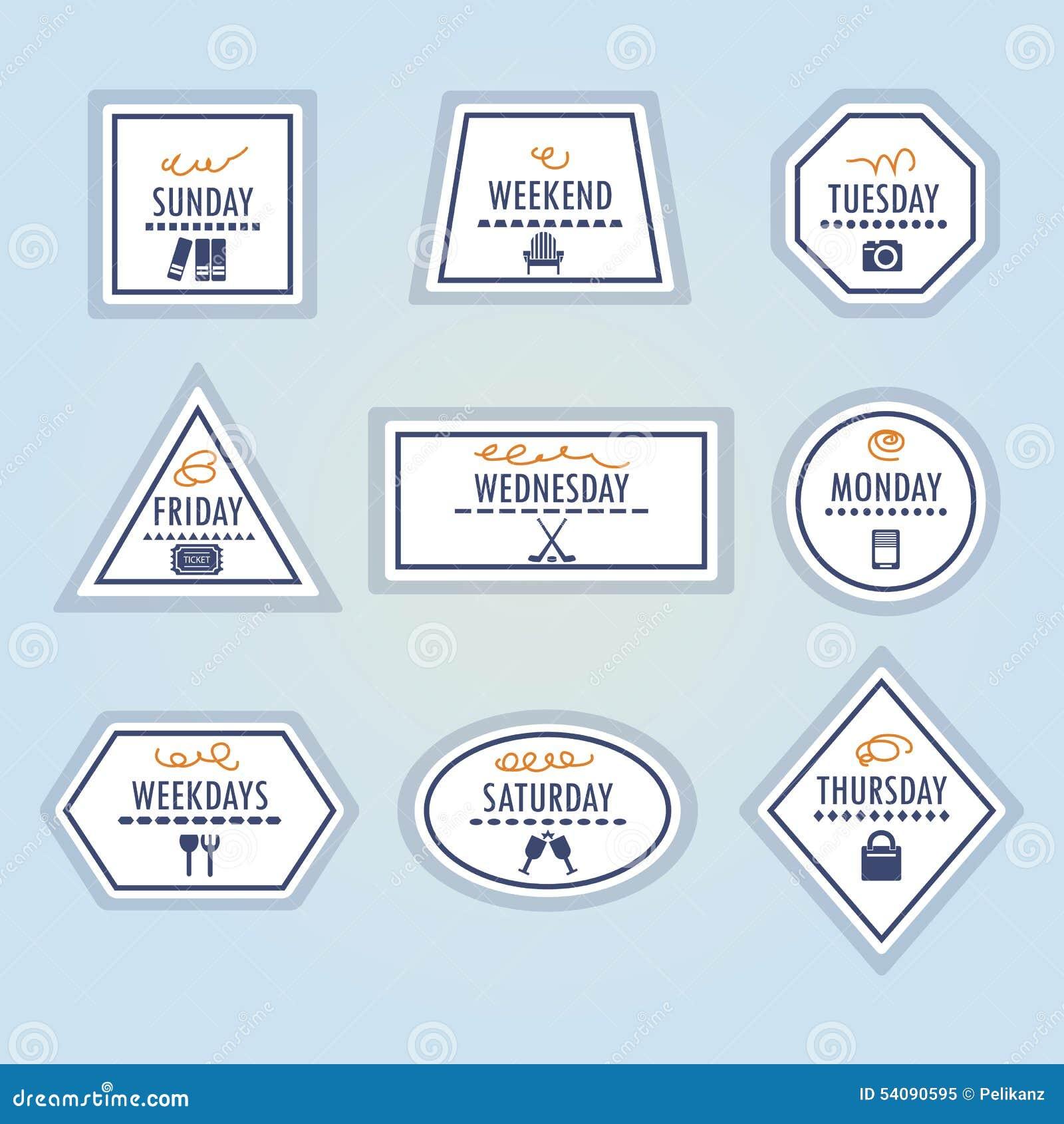 Geplaatste de stickerspictogrammen van activiteitenweekdagen