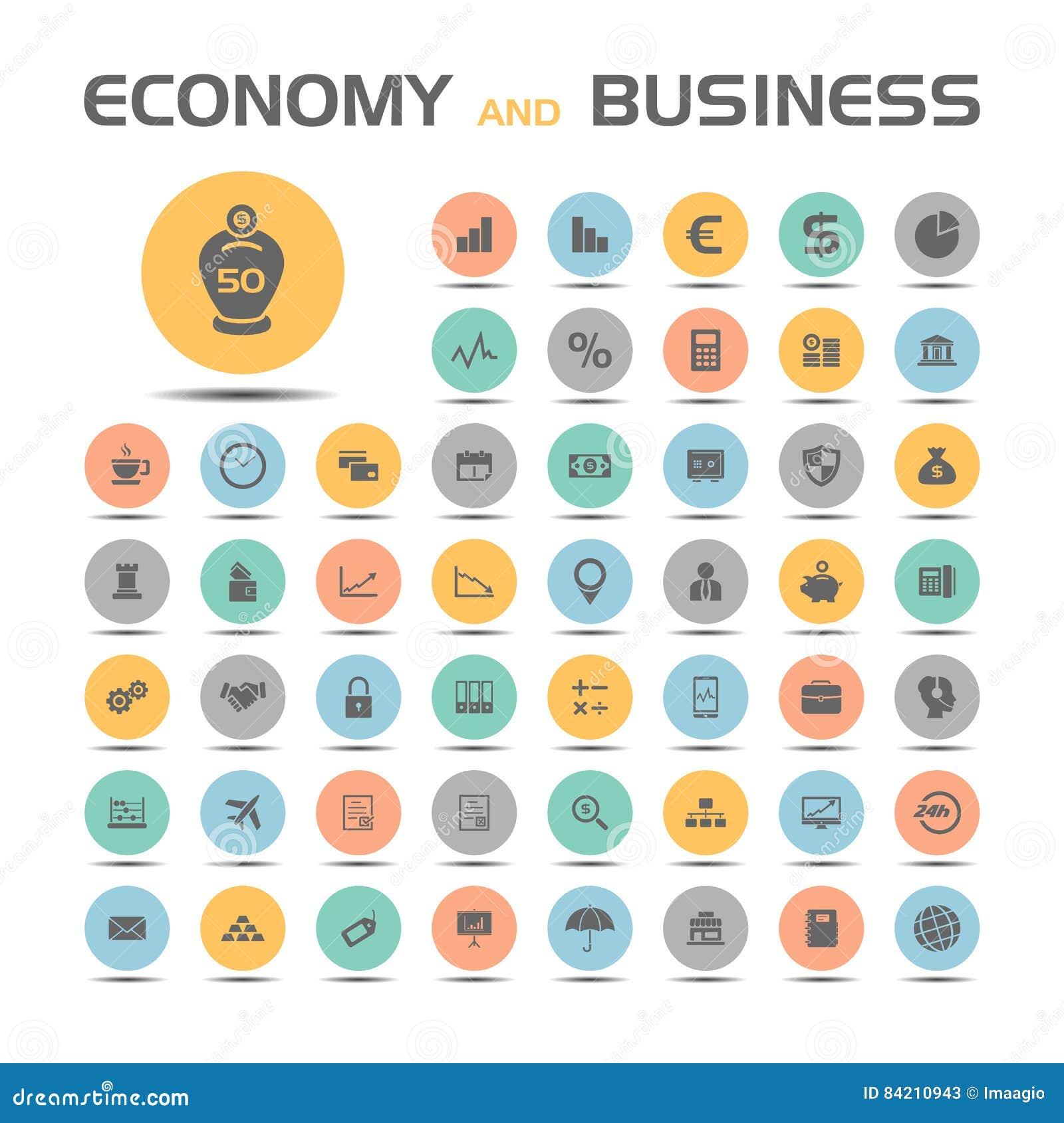 Geplaatste economie en bedrijfspictogrammen