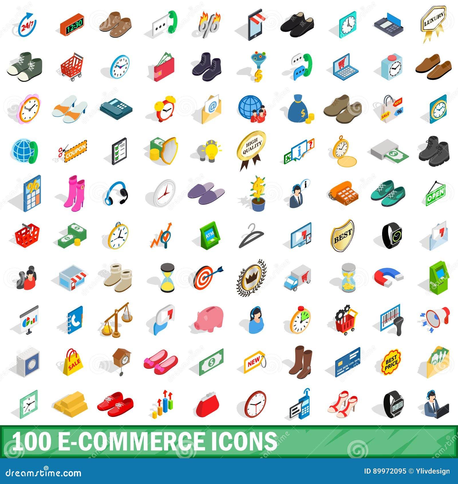 100 geplaatste elektronische handelpictogrammen, isometrische 3d stijl