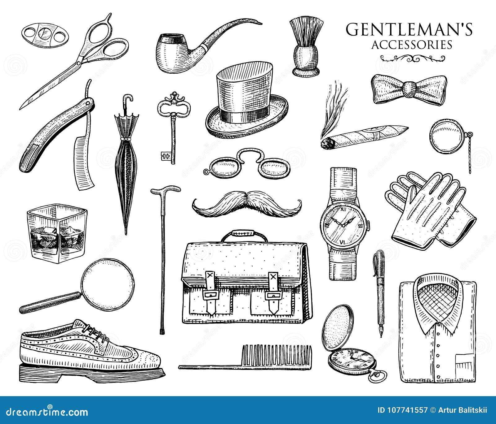 Geplaatste herentoebehoren hipster of zakenman, victorian era gegraveerde hand getrokken wijnoogst brogues, aktentas, overhemd