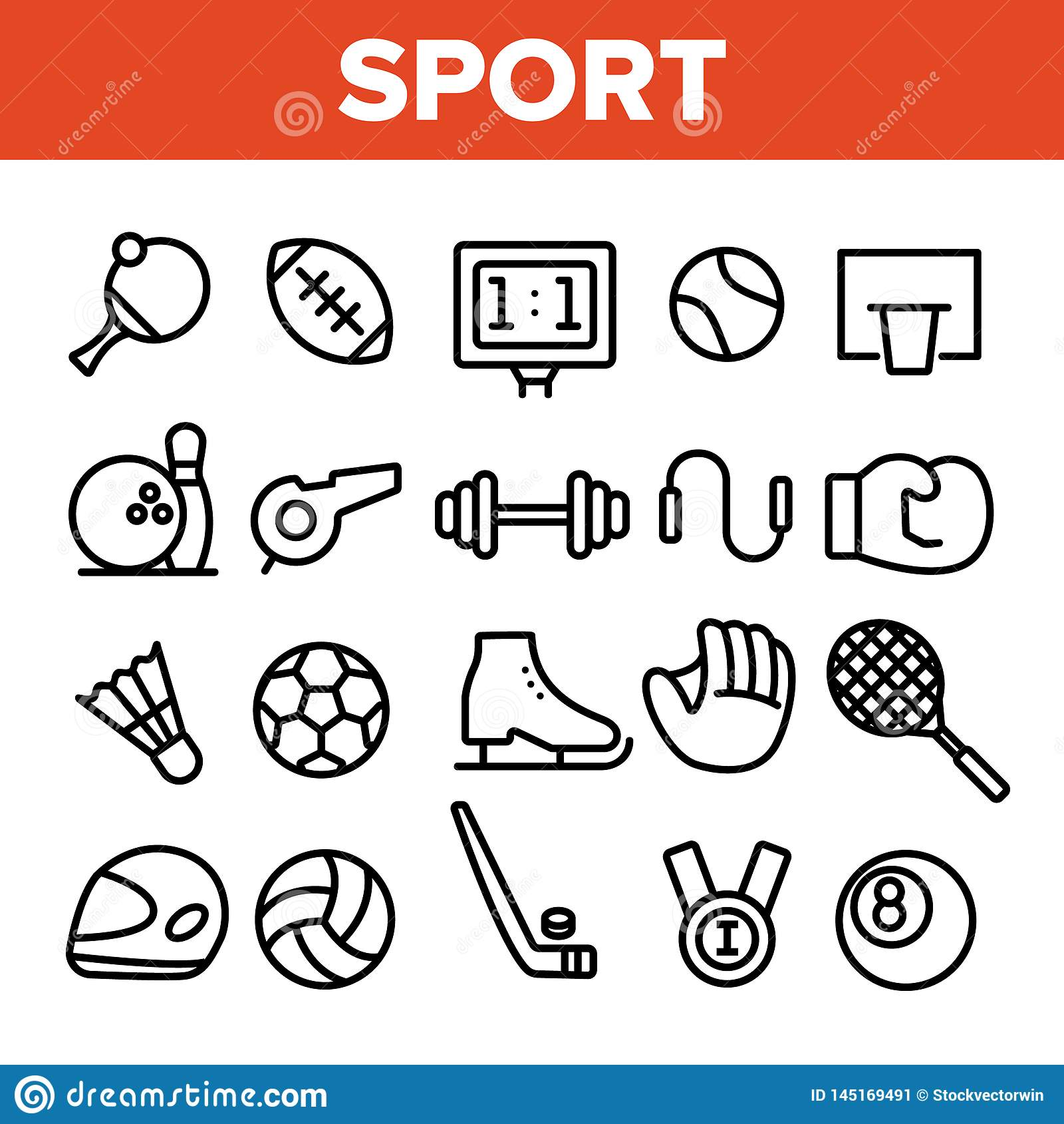 Geplaatste het Materiaal Lineaire Vectorpictogrammen van sportenspelen