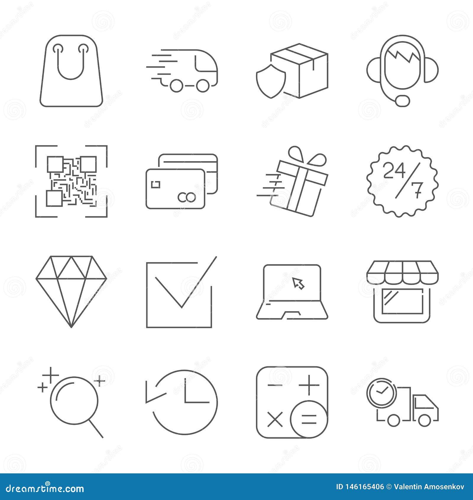 Geplaatste het Webpictogrammen van het elektronische handeloverzicht Editableslag
