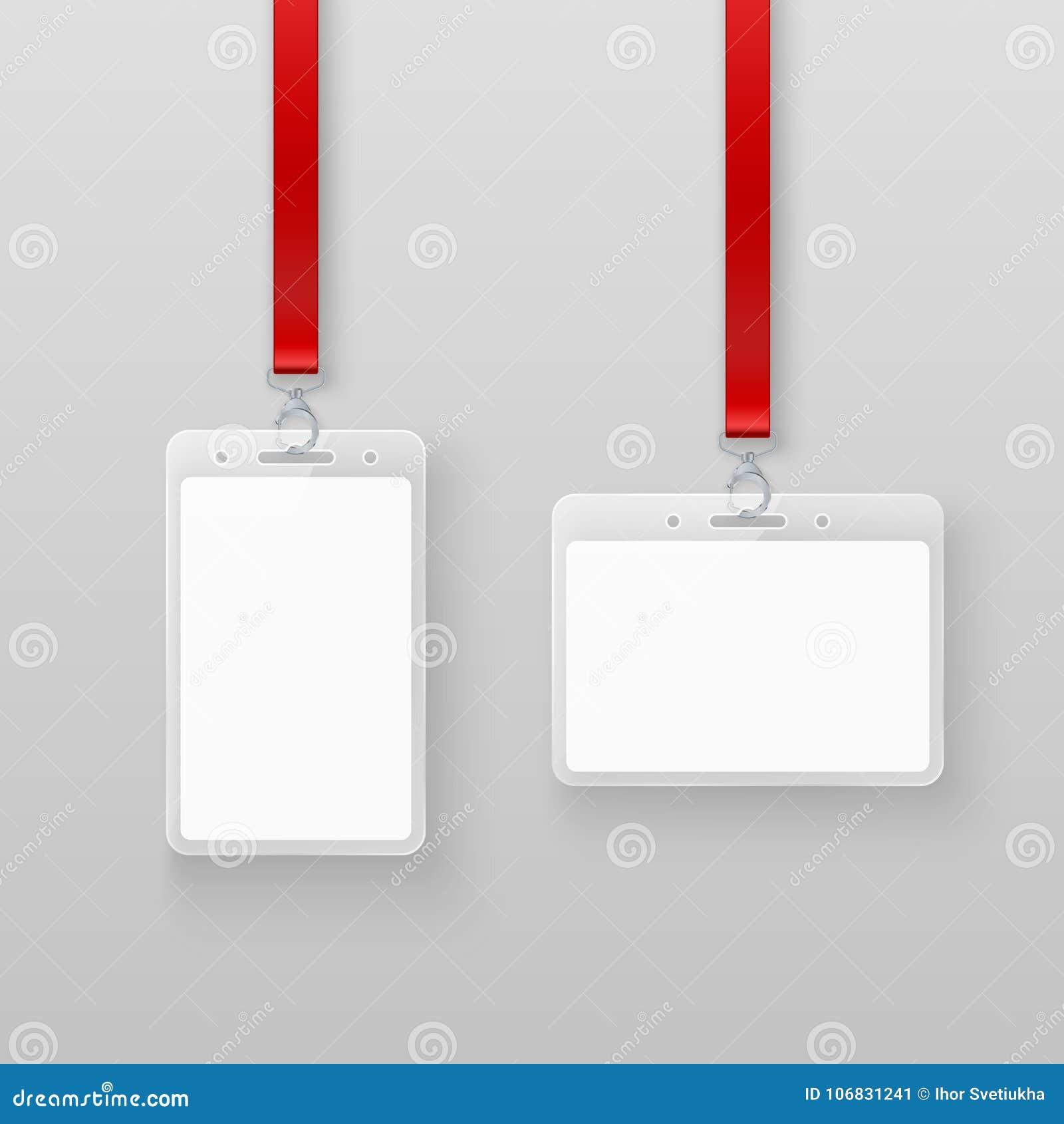 Geplaatste kaarten van identificatie de witte lege lege plastic identiteitskaart Vergunningssysteem in gebeurtenissen of in burea